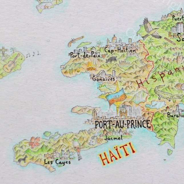 Haiti pictorial map by Anton Thomas